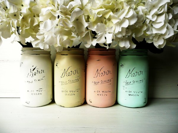 mass-floral-arrangement-in-painted-antique-jars